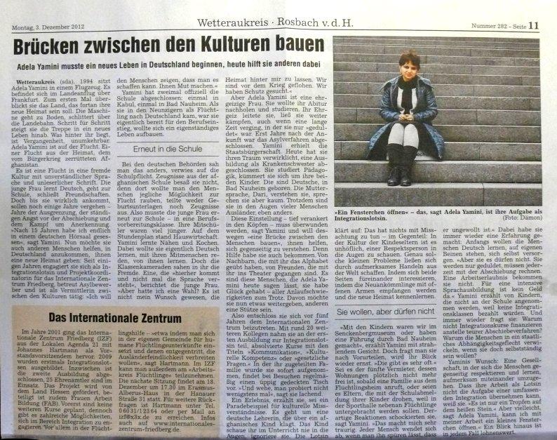 Wetterauer Zeitung - Erschienen am 3.12.2012